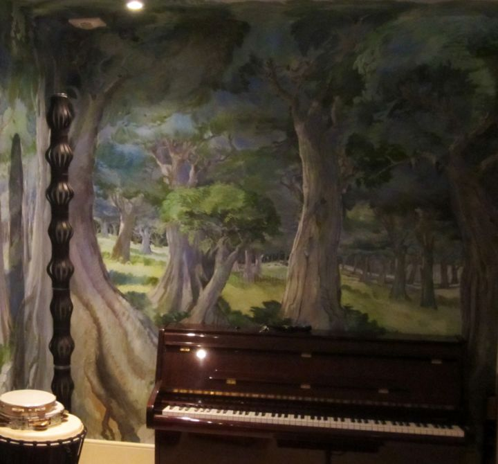 "philippe metaireau - ""The Enchanted Forest"" Mural in music room"